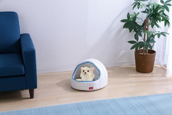 アイリスプラザの夏用猫ベッド、クールウレタンドーム型ベッドの使用イメージ