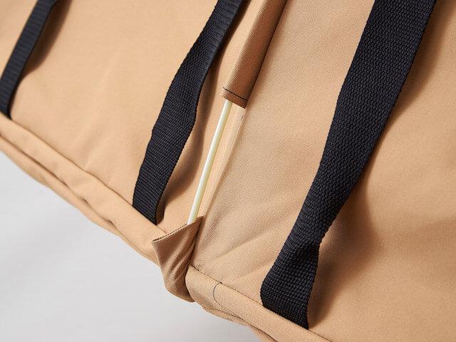 猫キャリーバッグ「ペットツインカーゴ」の骨組みに組み込まれているスプリングワイヤー
