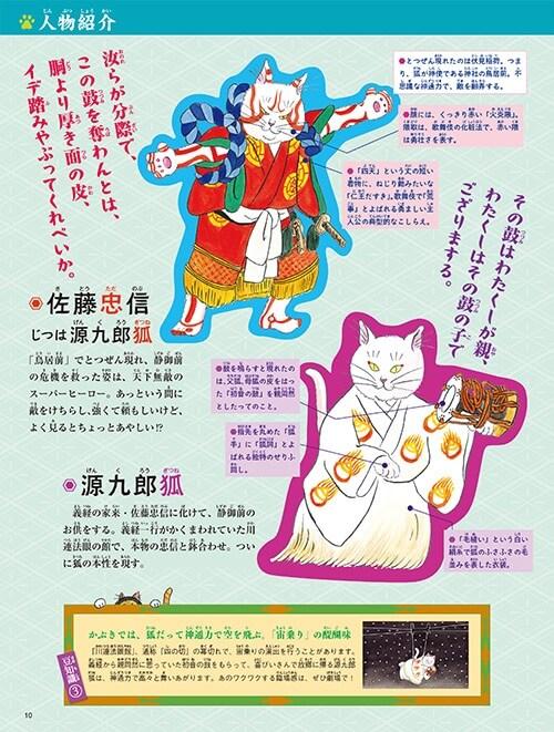 猫で学べる歌舞伎入門の絵本、登場人物紹介の紙面イメージ1