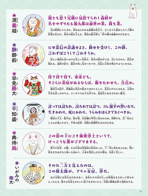 猫で学べる歌舞伎入門の絵本、登場人物紹介の紙面イメージ2