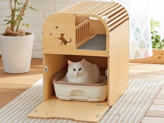 PEPPYから発売された木製の猫トイレカバー「ポートトイレカバー」