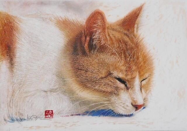 市来功成さんが描いた猫の絵画