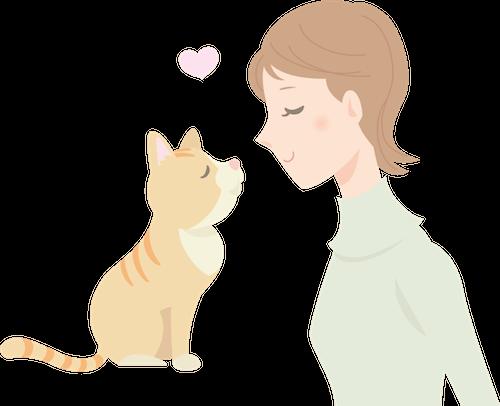 猫と飼い主のイラスト