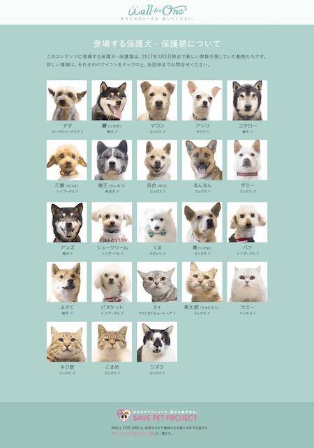 キャンペーンで選べるのは23頭の保護猫&保護犬