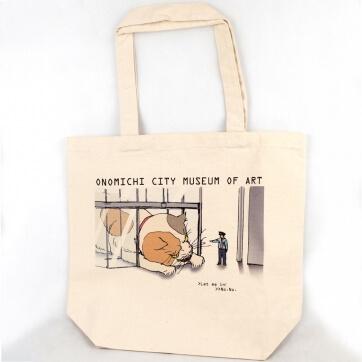 猫と警備員の攻防を描いた尾道市立美術館の三毛猫トートバッグ