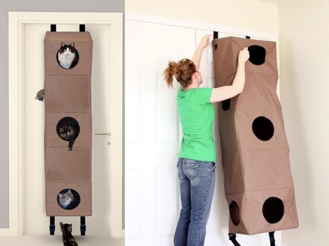 置き場所に困らない、室内ドアの側面に設置できる猫ハウス