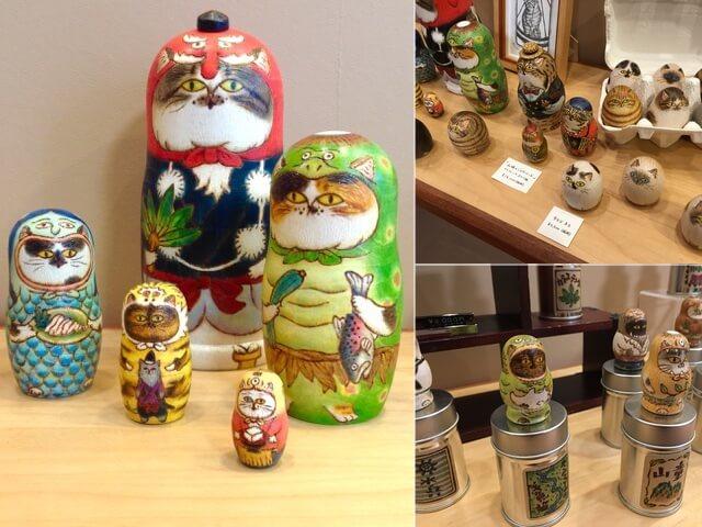 猫リョーシカの作り手、山下健一郎氏の個展が猫専門ギャラリーで開催
