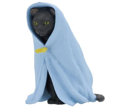 猫フィギュア「ねこくるみ」、黒猫バージョン