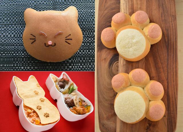 にゃんだらけパン、あわ家惣兵衛の猫どら焼き、福ねこ弁当