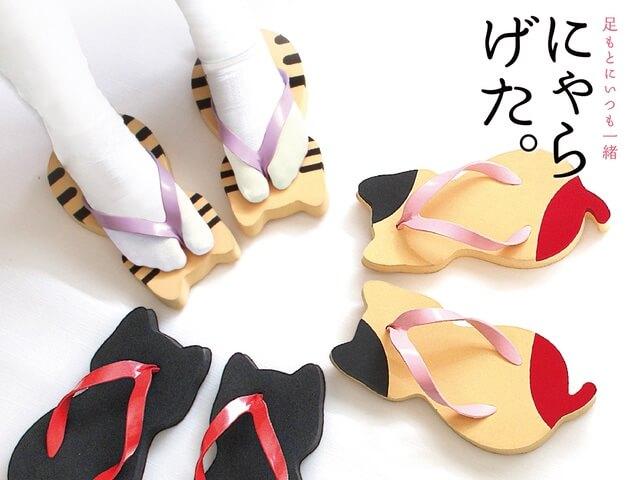 奈良の老舗履物メーカーが作ったネコ型の下駄「にゃらげた」