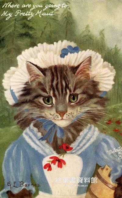 「猫の絵葉書展」で展示されている猫の絵ハガキ3