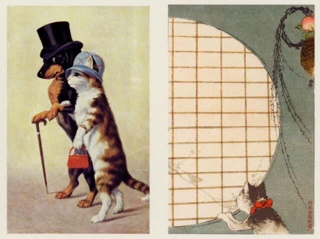 「猫の絵葉書展」で展示されている猫の絵ハガキ1