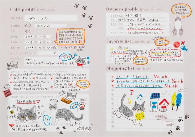 愛猫健康手帳、プロフィール記入ページ