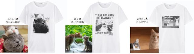 いやしネコ大賞の優秀作品をプリントしたTシャツ2