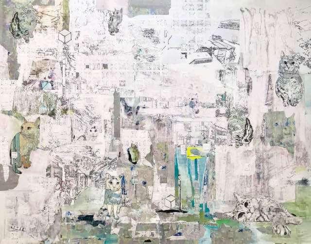 画家・山田貴裕氏×抽象画家mamofu氏のコラボ作品、猫のいる空間1
