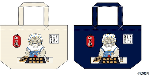 KORIRIがデザインした猫イラストのランチトートバッグ