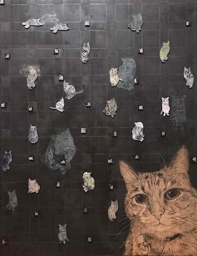 画家・山田貴裕氏×抽象画家mamofu氏のコラボ作品、猫のいる空間2