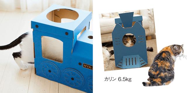 大きめの猫でも入れる機関車型の猫ハウス