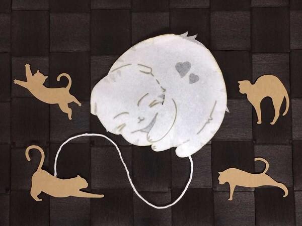 スコティッシュフォールドのティーバッグ、タグは4種類の猫シルエット