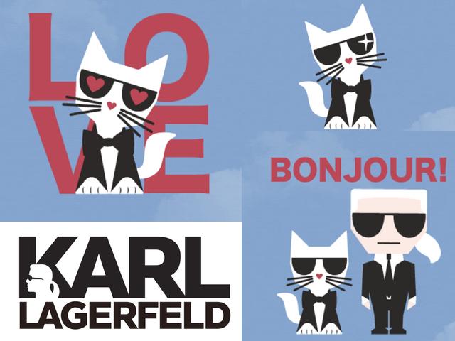 世界的ファッションデザイナー、カール・ラガーフェルドと愛猫シュペットのLINEスタンプが登場