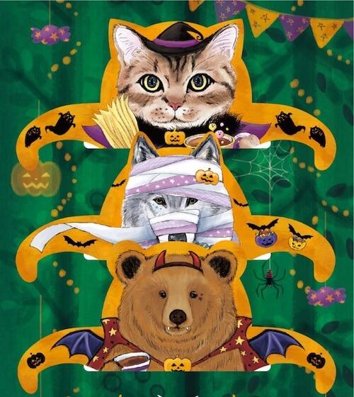 猫は魔女、狼はミイラ男、熊はドラキュラに仮装したハロウィンティーバッグ