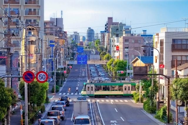 東急世田谷線の若林踏切