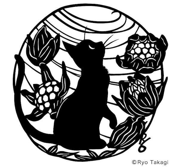 きりえ作家・高木亮さんの展示猫作品1「そら」(2017)