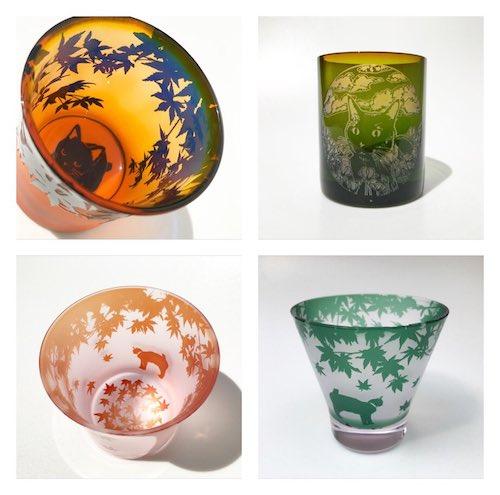猫のいる風景をグラスの中に表現した作品、ガラス工芸家・可夜(カヤ)