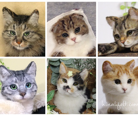 本物の猫と見間違えそう!羊毛フェルト作家の猫作品がすごい