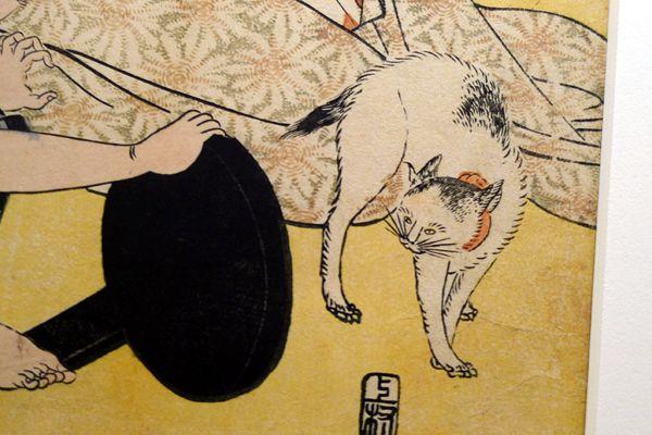 喜多川歌麿の浮世絵 鏡を見て驚く猫