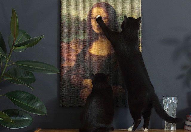 名画「モナリザ」「真珠の耳飾りの少女」が猫の爪とぎに