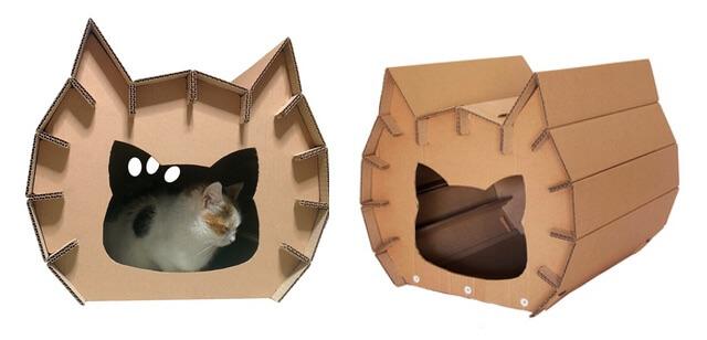 猫型のダンボール猫ハウス