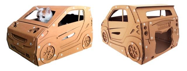 自動車のダンボール猫ハウス