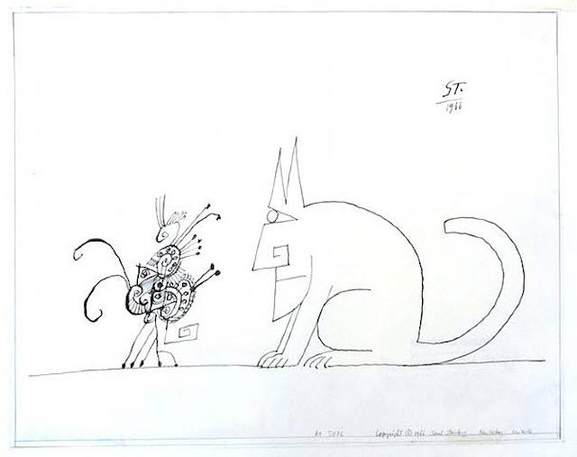 ソウル・スタインバーグ 猫の美術作品