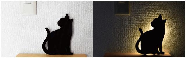 猫のシルエットをモチーフにしたウォールライト