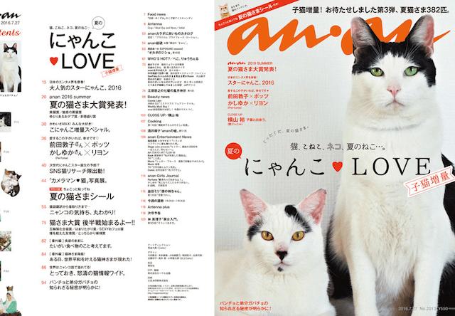 anan7/27号(No.2013)は「夏のにゃんこLOVE」の猫特集