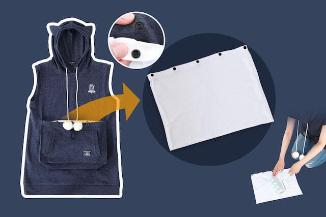 ポケットの内側は取り外しが可能な二重構造