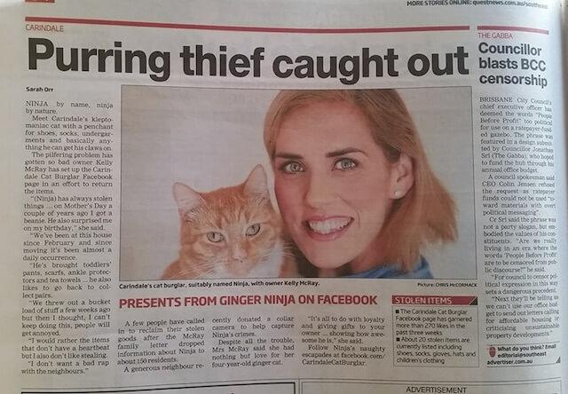 泥棒猫のニンジャと、飼い主のケリー・マクレーさん
