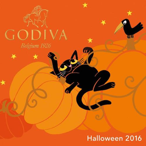 パッケージデザインは2016年、ゴディバのハロウィン限定のチョコレート黒ネコとカラス