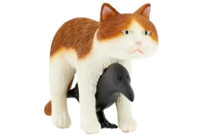 猫とカラスの合体フィギュア(茶白)