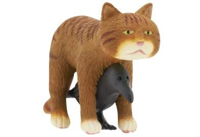 猫とカラスの合体フィギュア(茶トラ)