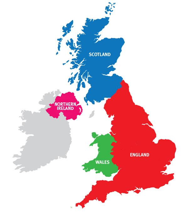 4つの国からなる連合国家、イギリス(英国)の地図