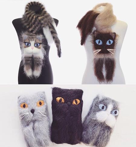 ウクライナの猫好き作家が作った猫マフラー