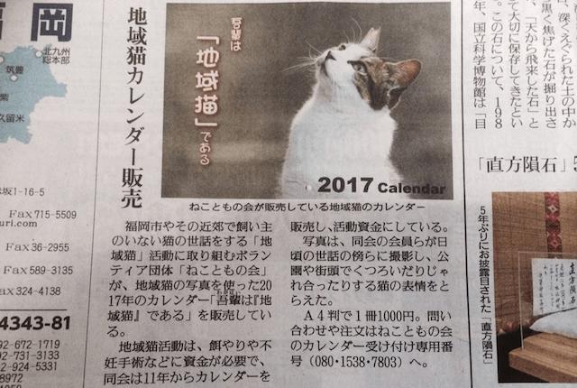 地域猫カレンダー2017「吾輩は地域猫である」が新聞に掲載