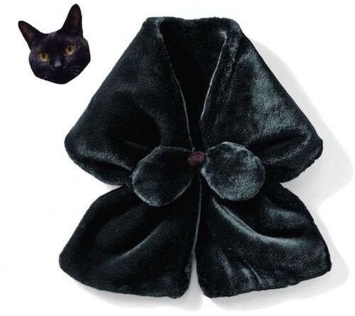 猫のひげ袋ネックウォーマー(ブラック)