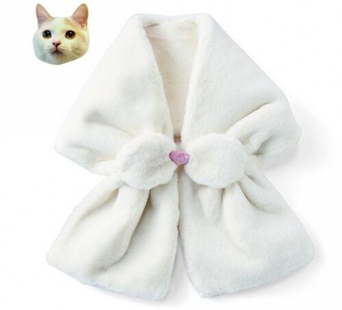 猫のひげ袋ネックウォーマー(ホワイト)