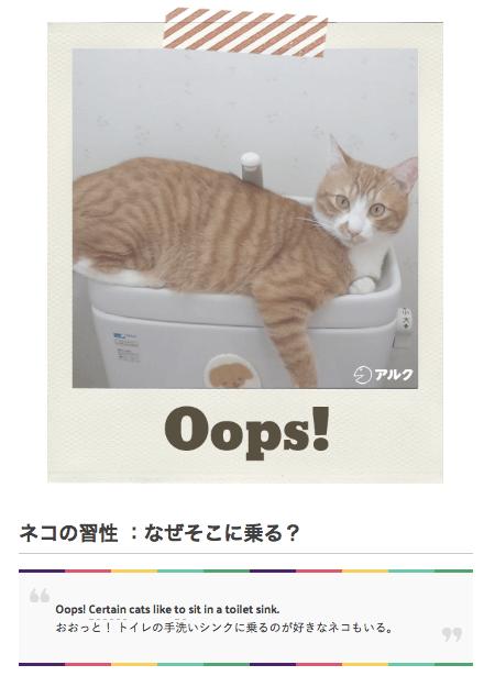ネコ英語を学べるウェブサイト「GOTCHA!(ガチャ)」では、ネコ写真と例文が掲載