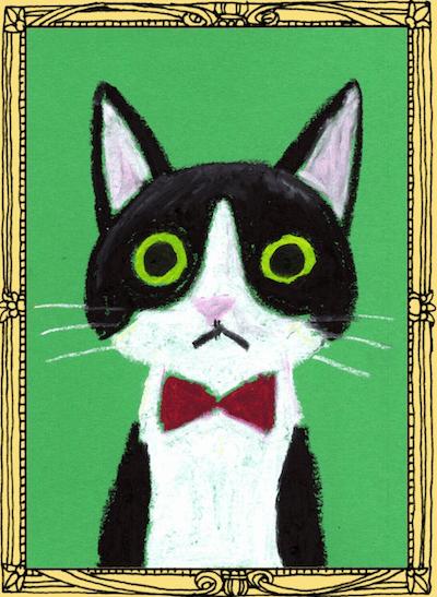 トリックアートのワークショップ「甘えんぼキャットの肖像画作り」