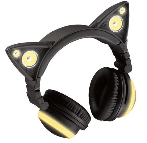 ネコ耳型ヘッドフォン「AXENT WEAR(アクセント ウェア)」のLED発光、イエロー
