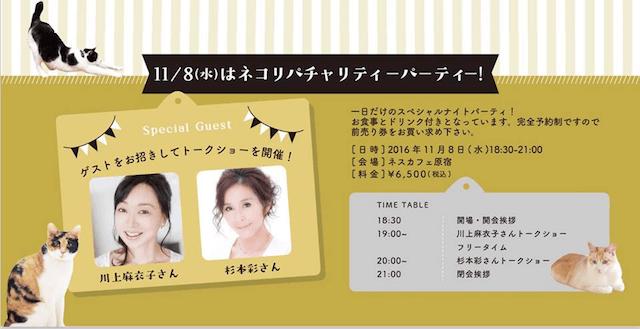 杉本彩さんと川上麻衣子さんを迎えて行われるネコ市ネコ座のトークショー